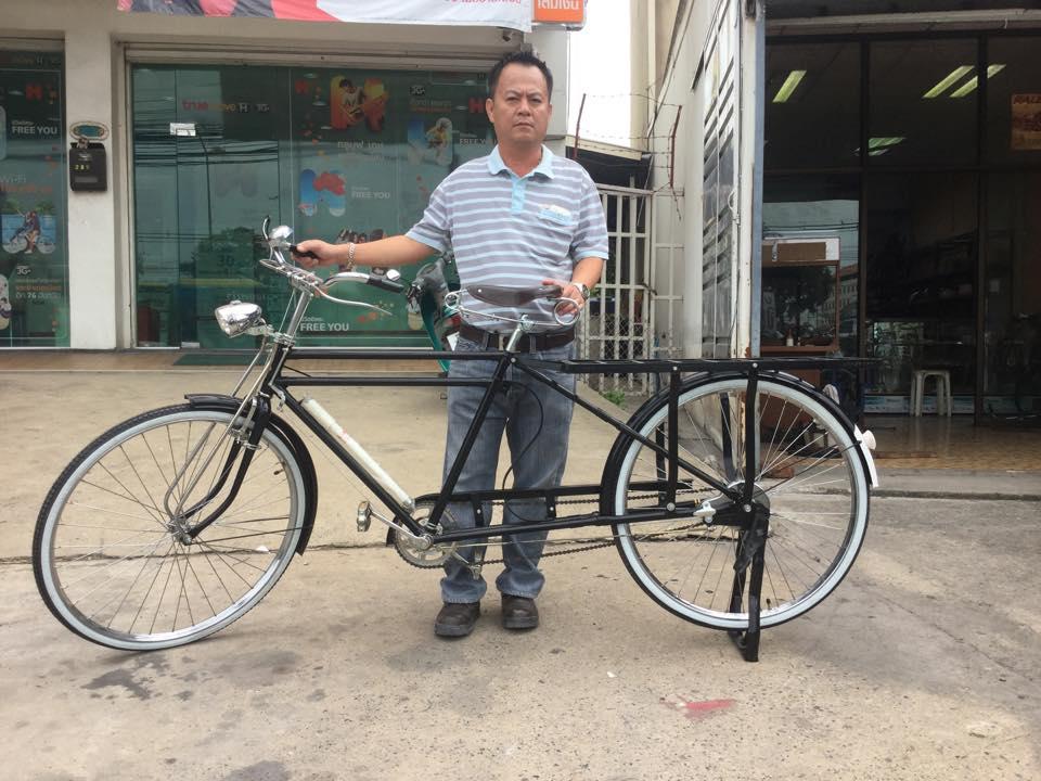 จักรยานช่วงยาว 28 นิ้วคานคู่ ทำสีดำ