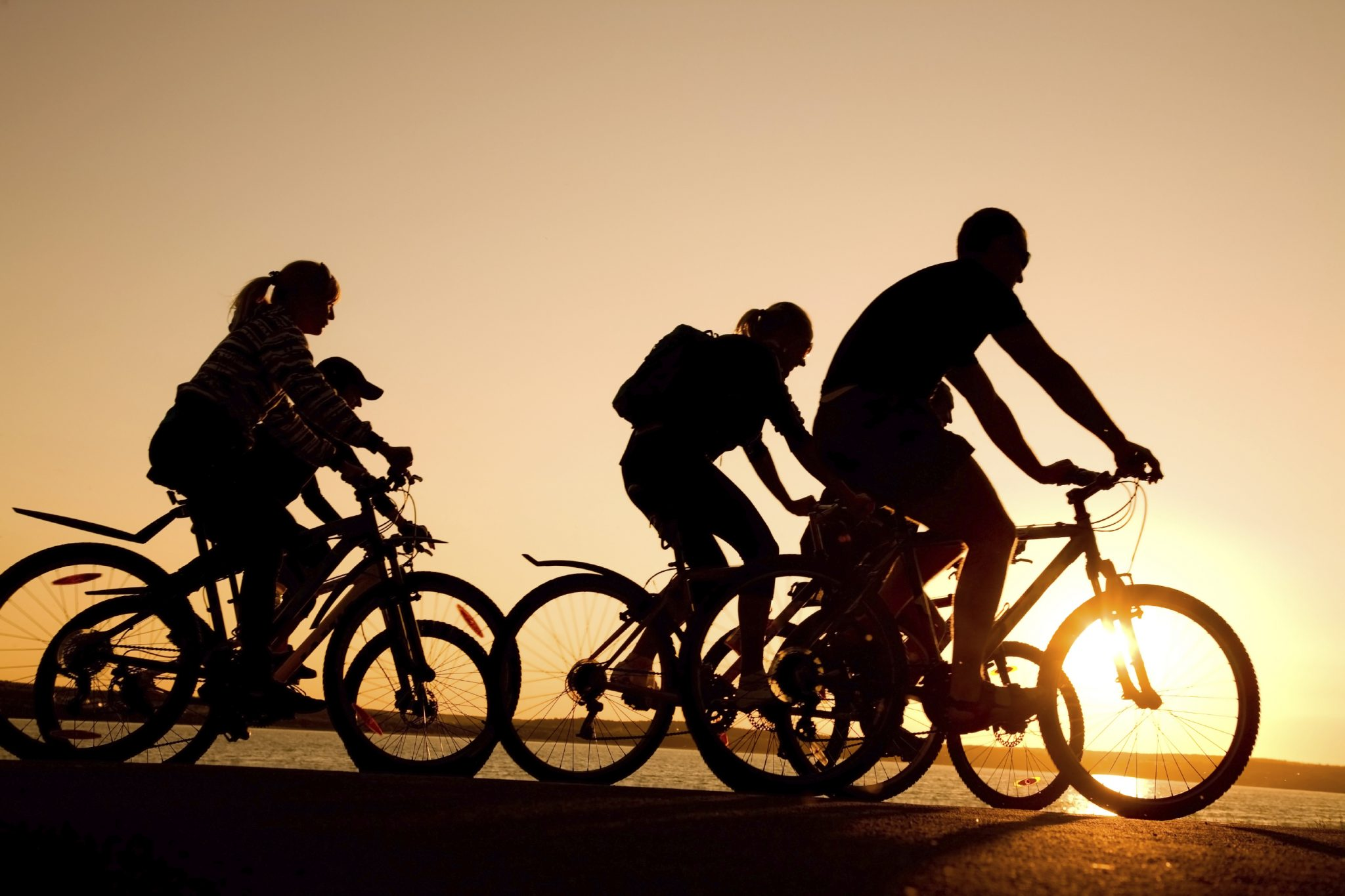 Image of sporty company  friends on bicycles outdoors against sunset. Silhouette